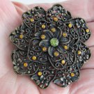 Vintage Goldenrod Rhinestone Burnished Gold Plate Flower Pin Brooch