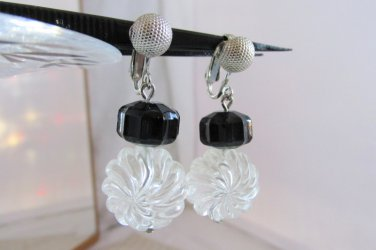 1973 Vintage Sarah Coventry Jet Ice Earrings Black & Clear Lucite Dangle