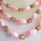 "Vintage 2 Tone Pink Acrylic Bead Bib Choker Necklace 15""-16"" Gold Plate Accents"