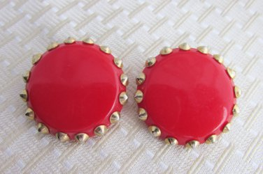 Vintage Big Statement Fire Engine Red Lucite Disk Earrings Pointy Stud Prongs