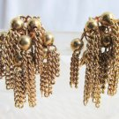 Vintage Goldtone Cluster Chain Dangling Earrings Clip On