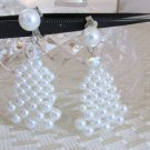 Vintage Dangling Woven Faux Pearls w/ Crystal Earrings Clip On