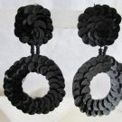 Vintage Exotic Black Sequin Gypsy Hoop Earrings Clip On 1980s Boho