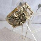 Vintage Whiting Davis Co. Wide Repousse Cuff Bracelet Goldtone Art Nouveau Revival Signed