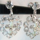 Vintage Sterling Silver Cross in Heart Pendant Earrings Screw Colorful CZ Stones