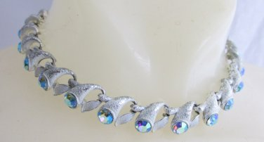 Vintage Peacock Blue AB Rhinetone Chatons Choker Necklace Frosted Silver Plate