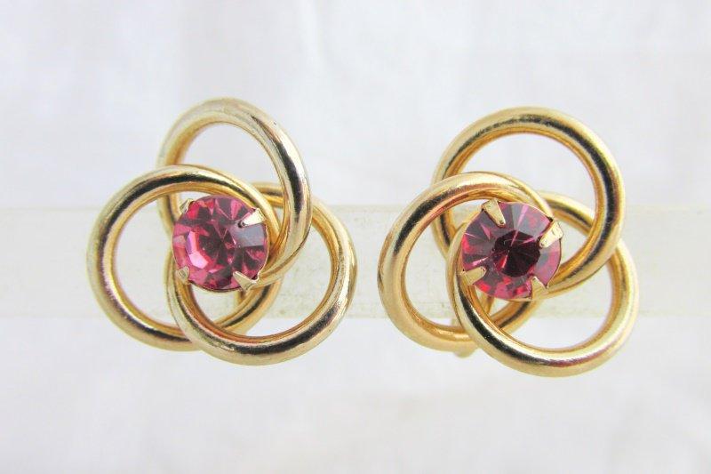 Vintage CORO Pink Rhinestone Love Knot Earrings Screw Back 3 Interlocking Rings