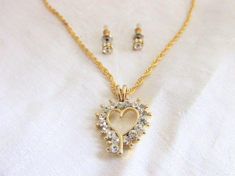 "Crystal Rhinestone Open Heart Pendant 18"" Necklace & Stud Earrings Gold Plate"