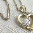 Vintage 925 Sterling Silver Gold Vermeil MOM Heart Pendant Box Chain Necklace Italy