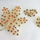Vintage Dodds Orange & Root Beer Brown Rhinestone Lacy Leaf Pin & Earring Set Signed