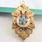 1800s Vintage Victorian Etruscan 10kt Gold Rose Gold Turquoise Locket Pendant
