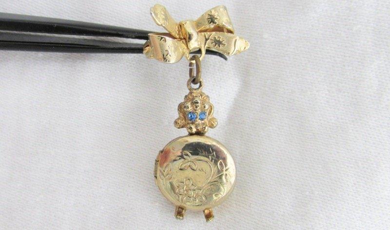 Vintage Poodle Photo Locket Bow Pin Blue Rhinestones Gold Plate Embossed Sweet