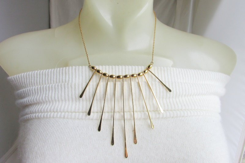 Vintage Sarah Coventry Cascade Bib Necklace Gold Plate Metal Beads Signed