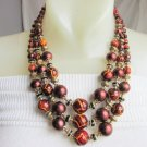 Vintage Golden Orange Brown 3 Strand Bib Necklace Gold Plate Acrylic Faux Pearls
