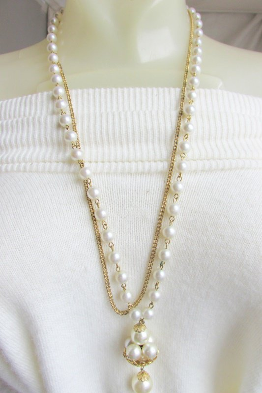 Vintage Pin-Set White Faux Pearl Drop Pendant & Gold Plated Chain Necklace