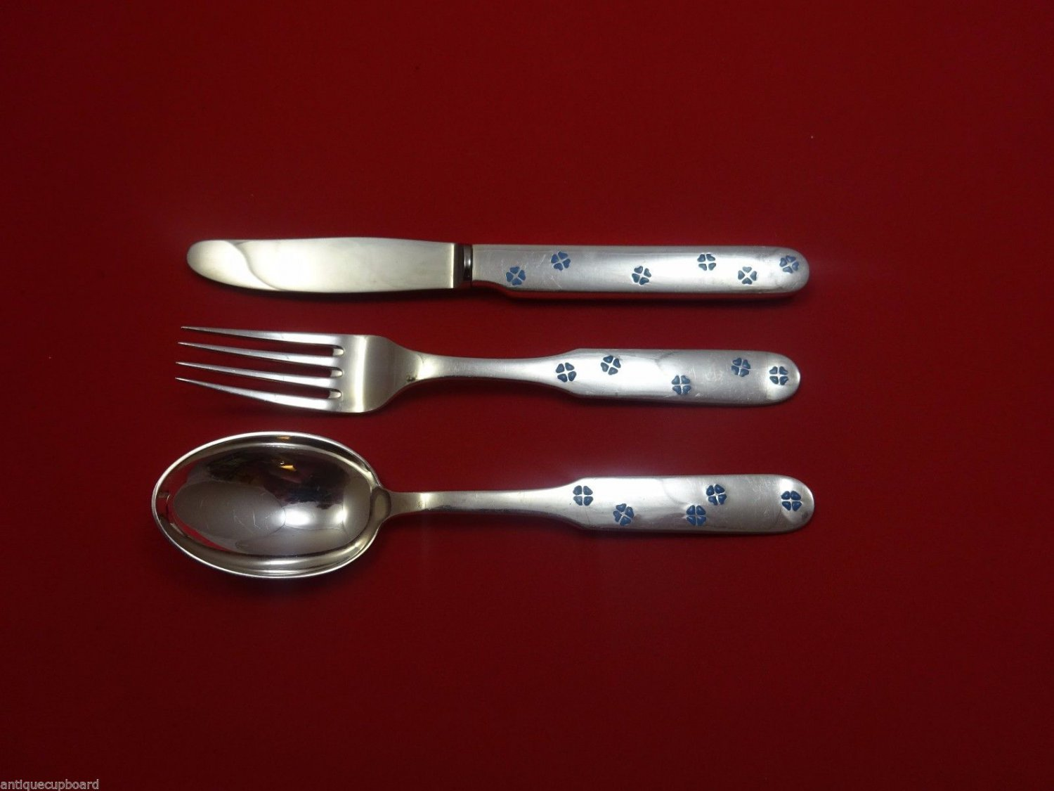 Michelsen Sterling Silver Junior Set 3pc with Blue Enamel 6 1/4""