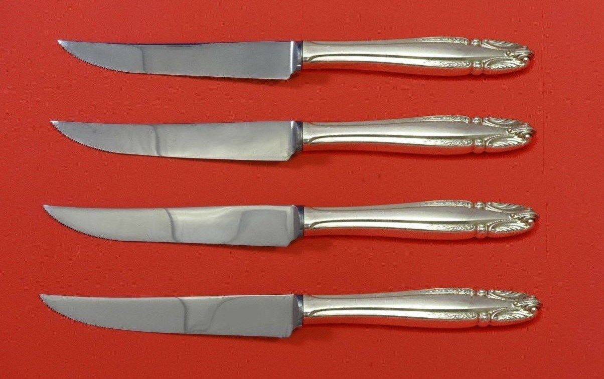 "Stradivari by Wallace Sterling Silver Steak Knife Set 4pc HHWS  Custom 8 1/2"""