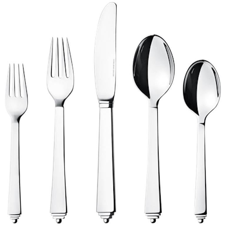 Pyramid by Georg Jensen Stainless Steel Flatware Set For 12 Service 60 Pcs New