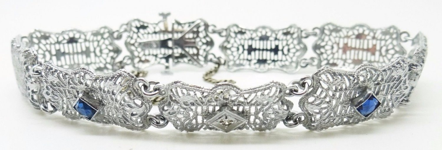 10K Gold Art Deco Diamond Bracelet with Synthetic Blue Sapphires (#3367)