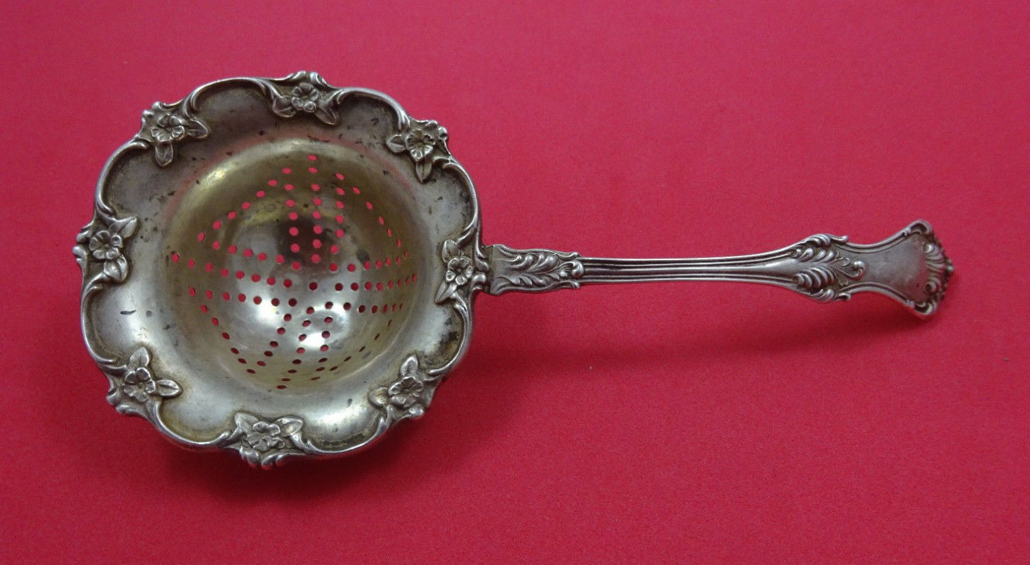 """Corinthian by Mount Vernon Sterling Silver Tea Strainer 6 1/4"""""""