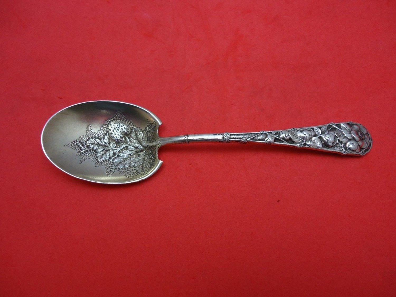 "Eglantine by Gorham Sterling Silver Preserve Spoon Goldwashed 6 3/4"""