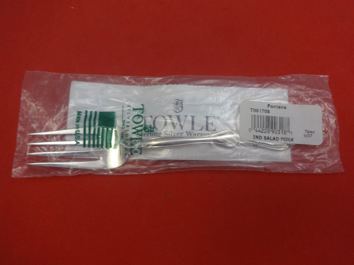 "Fontana by Towle Sterling Silver Salad Fork 6 1/2"" New"