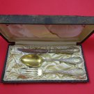 Arabesque by Whiting Sterling Silver Christening Set Vermeil 3pc In Fitted Case