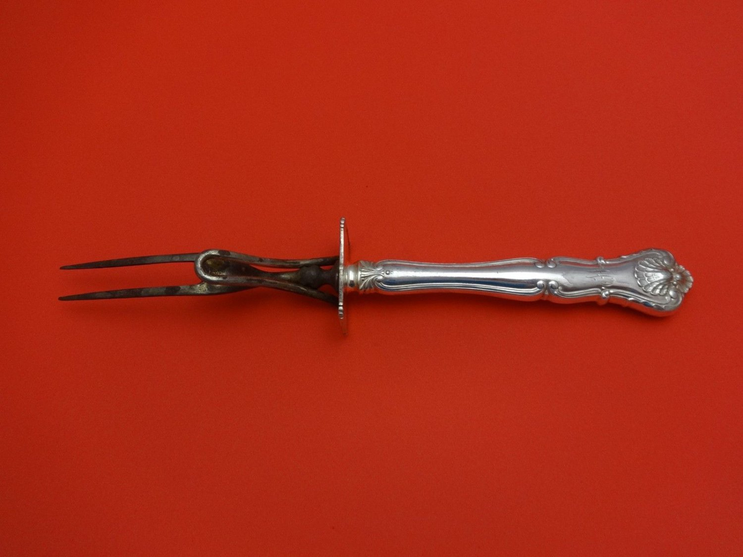 """New Queens by Durgin Sterling Silver Roast Carving Fork 10 1/2"""""""