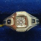 18K White Gold Diamond and Synthetic Sapphire Men'S Ring .21ct (#729)