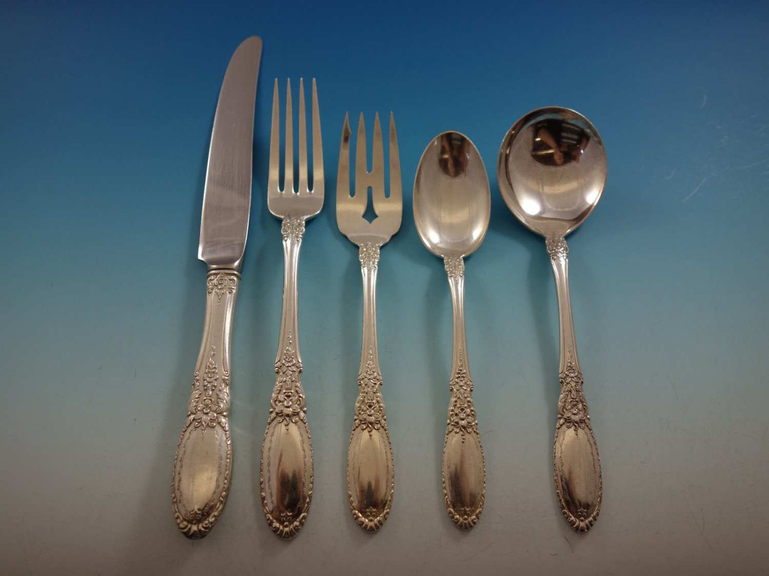 Old Mirror by Towle Sterling Silver Flatware Set For 8 Service 41 Pieces