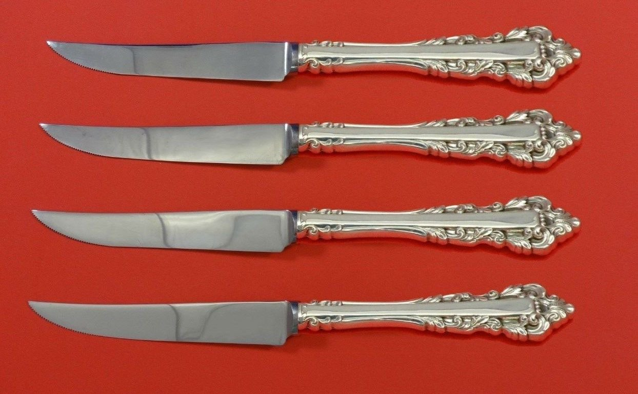 "Medici New by Gorham Sterling Silver Steak Knife Set 4pc HHWS  Custom 8 1/2"""