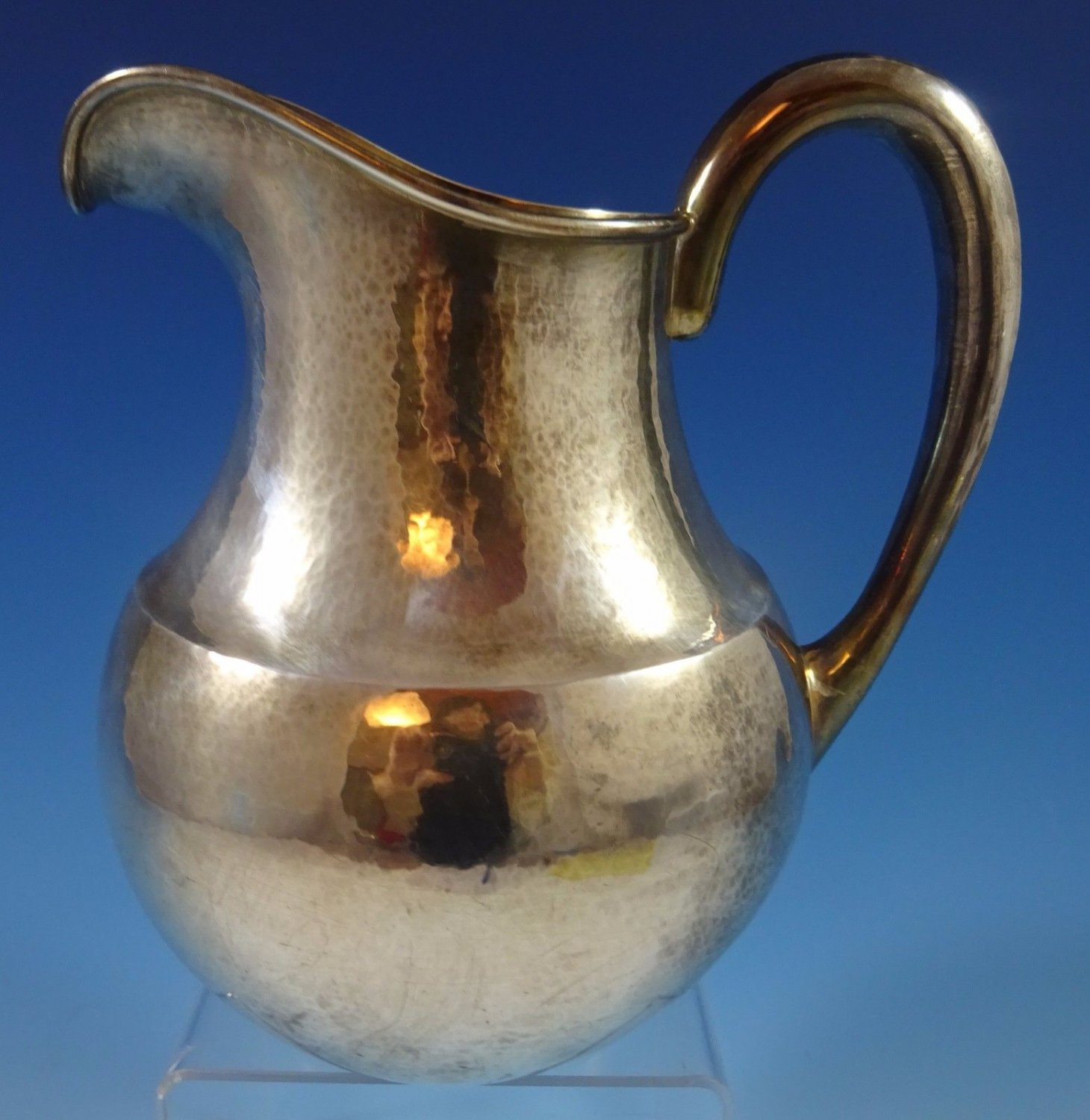 """Kalo Sterling Silver Water Pitcher Hand Wrought #3792L 8 1/4"""" X 7 3/4"""" (#1252)"""