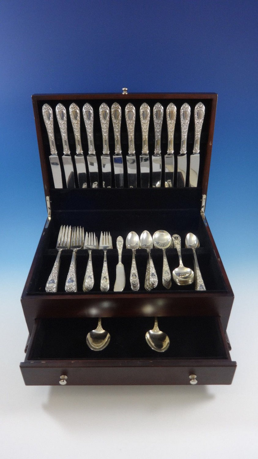 Rose by Kirk Sterling Silver Dinner Size Flatware Set For 12 Service 86 Pieces