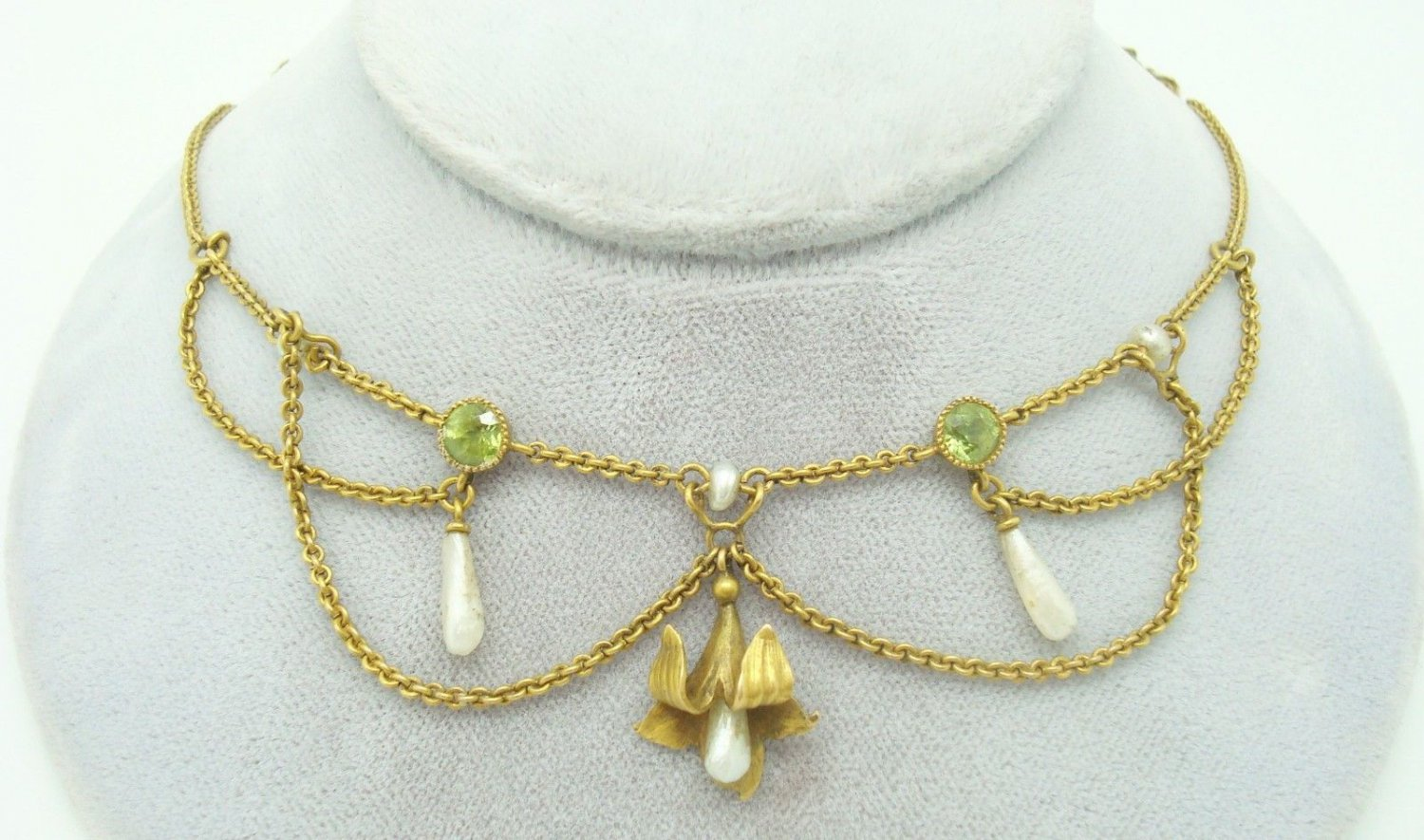 10K Gold Festoon Necklace with Peridots and Pearls (#2203)