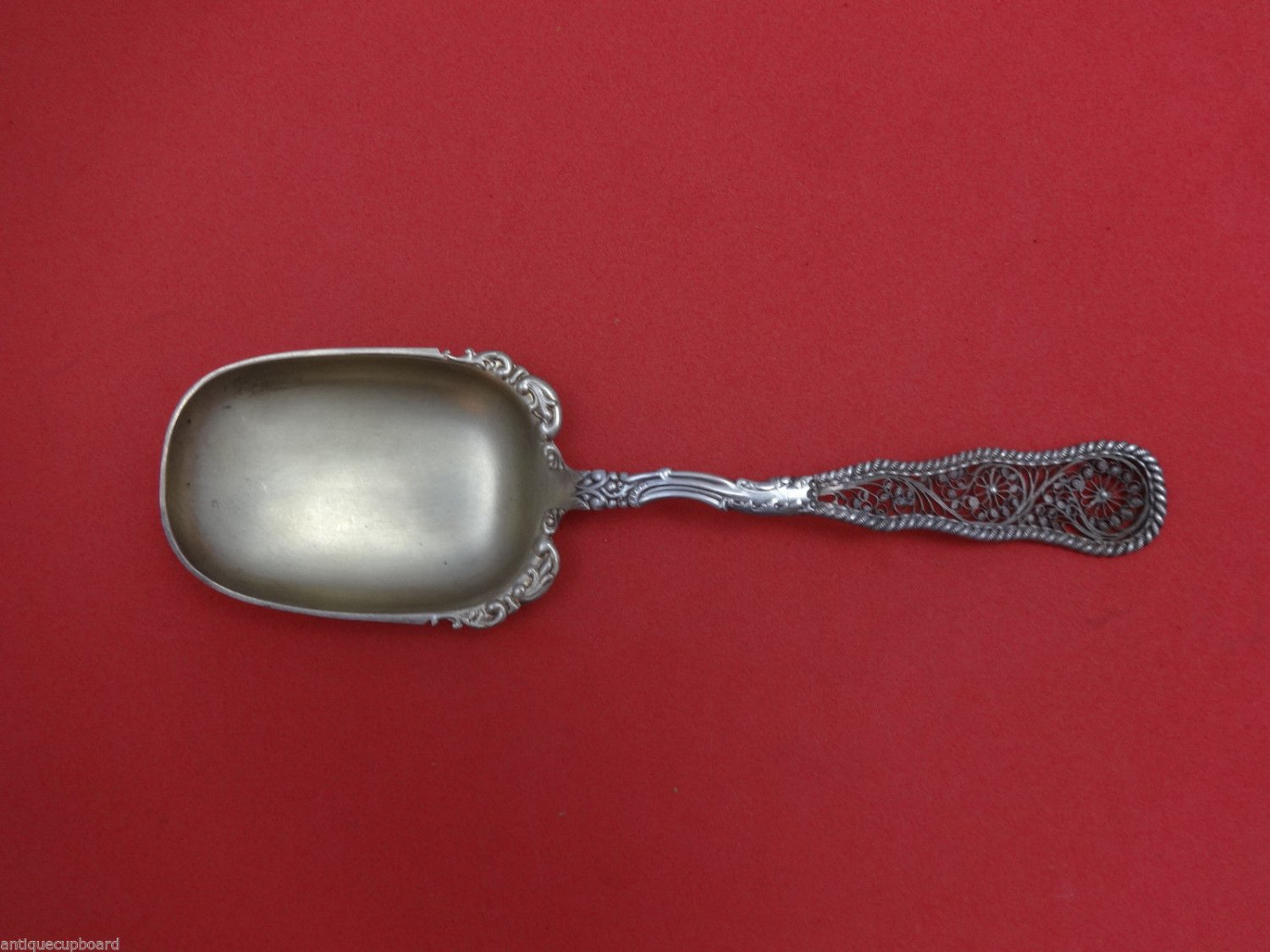 Pattern G by Dirksen Sterling Silver Berry Spoon Gold-Washed 8 1/4""