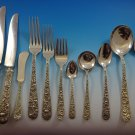 Repousse by Kirk Sterling Silver Flatware Service For 12 Set 143 Pcs Dinner Size