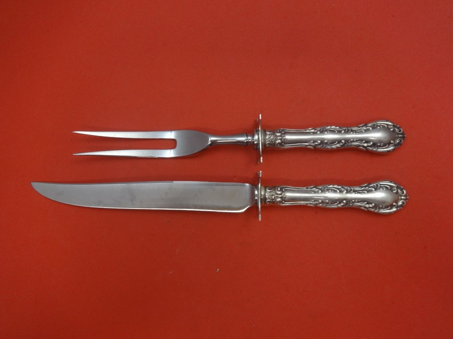 Old Atlanta by Wallace Sterling Silver Steak Carving Set 2pc with Rest HHWS
