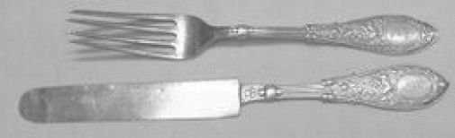 "Arabesque by Whiting Sterling Silver Junior Set 2pc Knife 7"" Fork 6 1/4"""