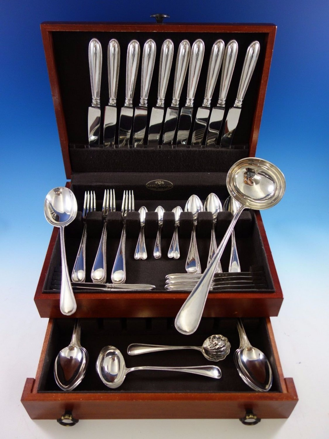 Beaded by A Dragstad Danish Sterling Silver Flatware Set for 10 Service 64 Pcs