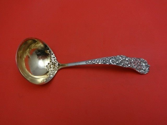 """Rococo by Dominick & Haff Sterling Silver Gravy Ladle Flowers Goldwashed 6 1/2"""""""