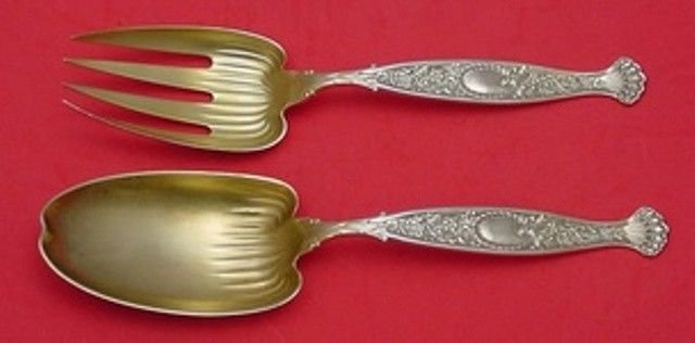 """Hyperion by Whiting Sterling Silver Salad Serving Set Gold Washed 9 1/2"""""""