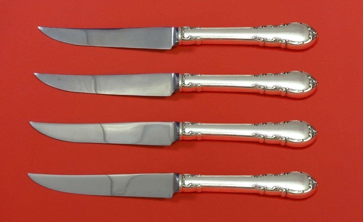 "Modern Victorian by Lunt Sterling Silver Steak Knife Set 4pc HHWS  Custom 8 1/2"""