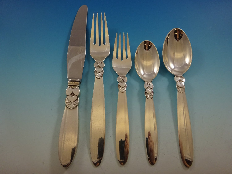 Cactus by Georg Jensen Sterling Silver Dinner Flatware Set For 8 Service 42 Pcs