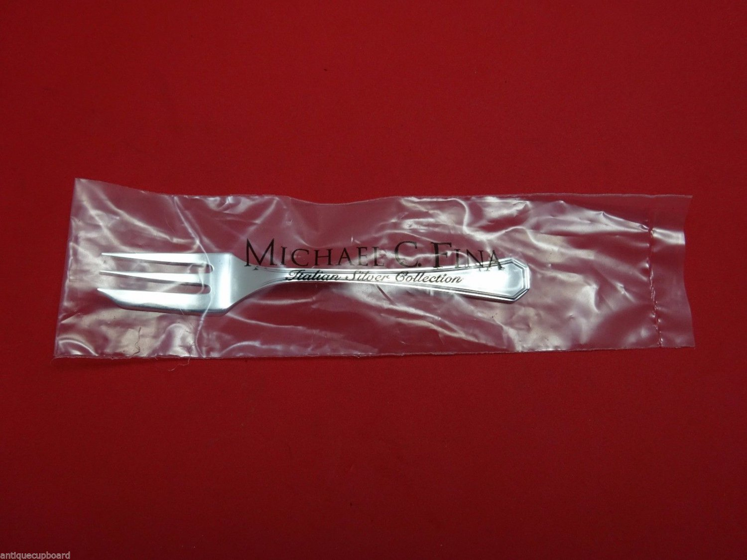 """Ottagonale by Fina-Italy Sterling Silver Pastry Fork 3-Tine 5 1/2"""" New"""