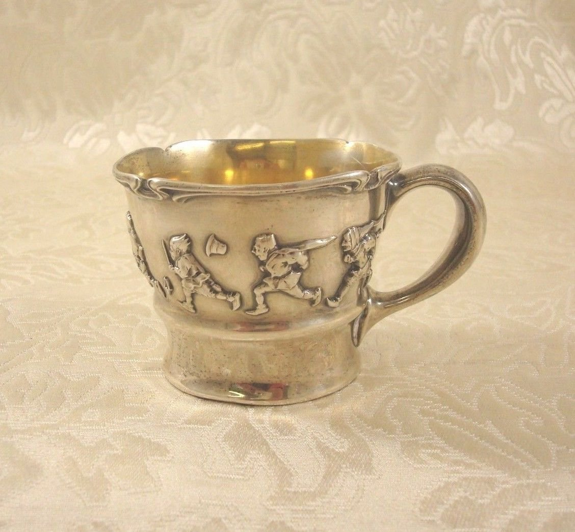"""Pattern Unknown Sterling Silver Child'S Cup w/Children'S Games GW 2 3/4"""""""