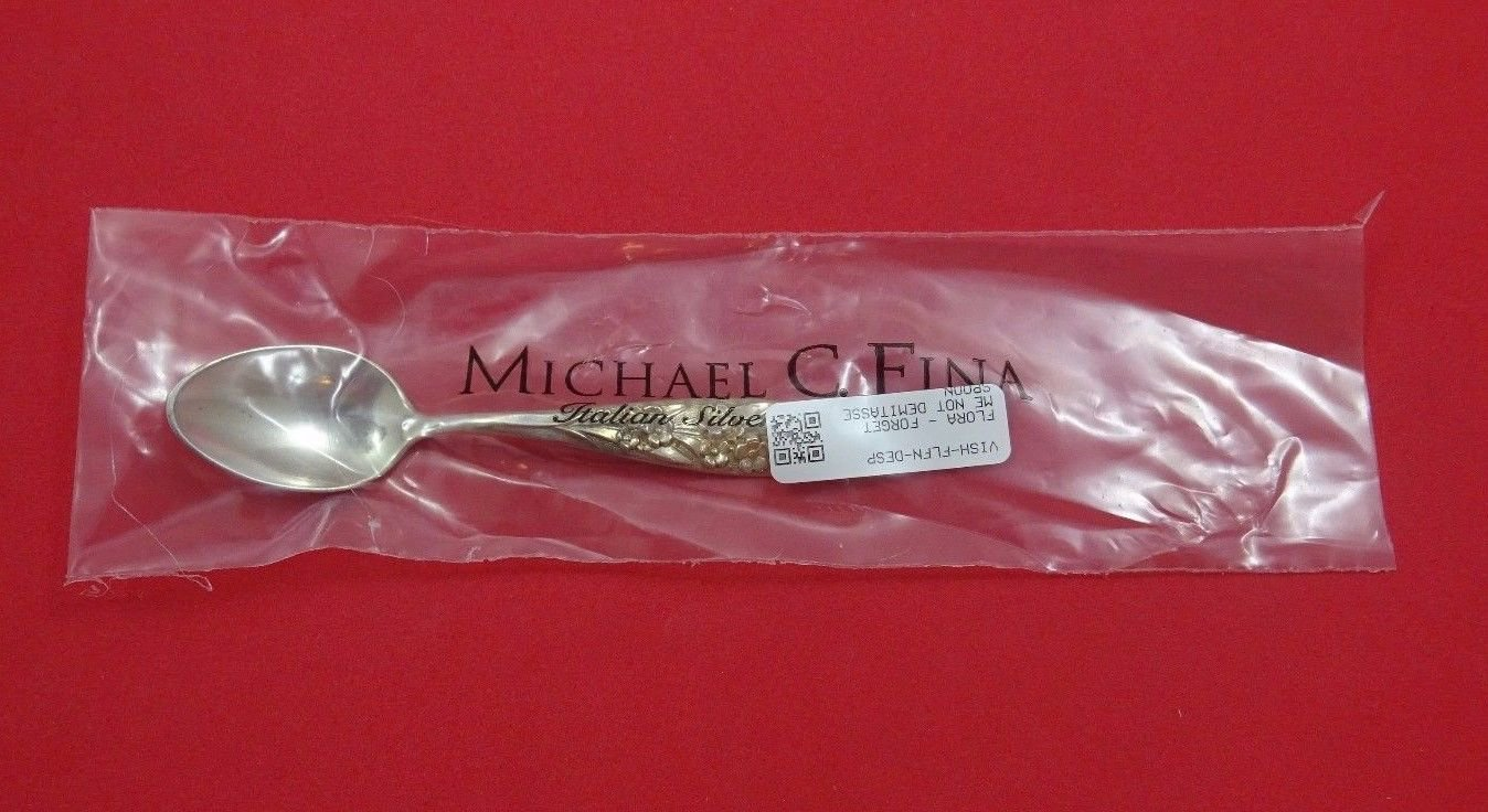 """Flora by Shiebler Sterling Silver Demitasse Spoon w/Forget Me Not 4 1/8"""" New"""