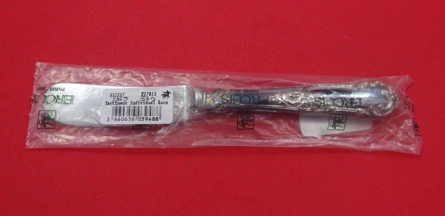 "Rocaille by Ercuis French Sterling Silver Butter Spreader 7 1/4"" Retail $390 New"