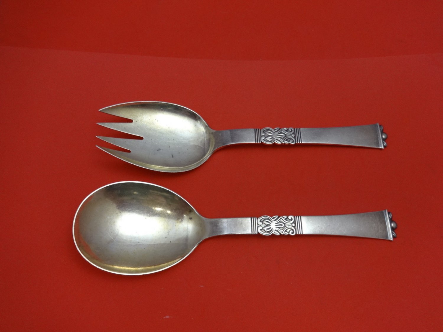 """Rigs by Frigast Sterling Silver Salad Set Goldwashed 2pc 9 7/8"""""""