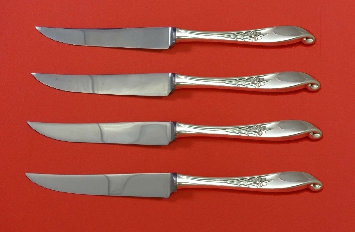 Wishing Star by Wallace Sterling Silver Steak Knife Set 4pc HHWS  Custom 8 1/2""