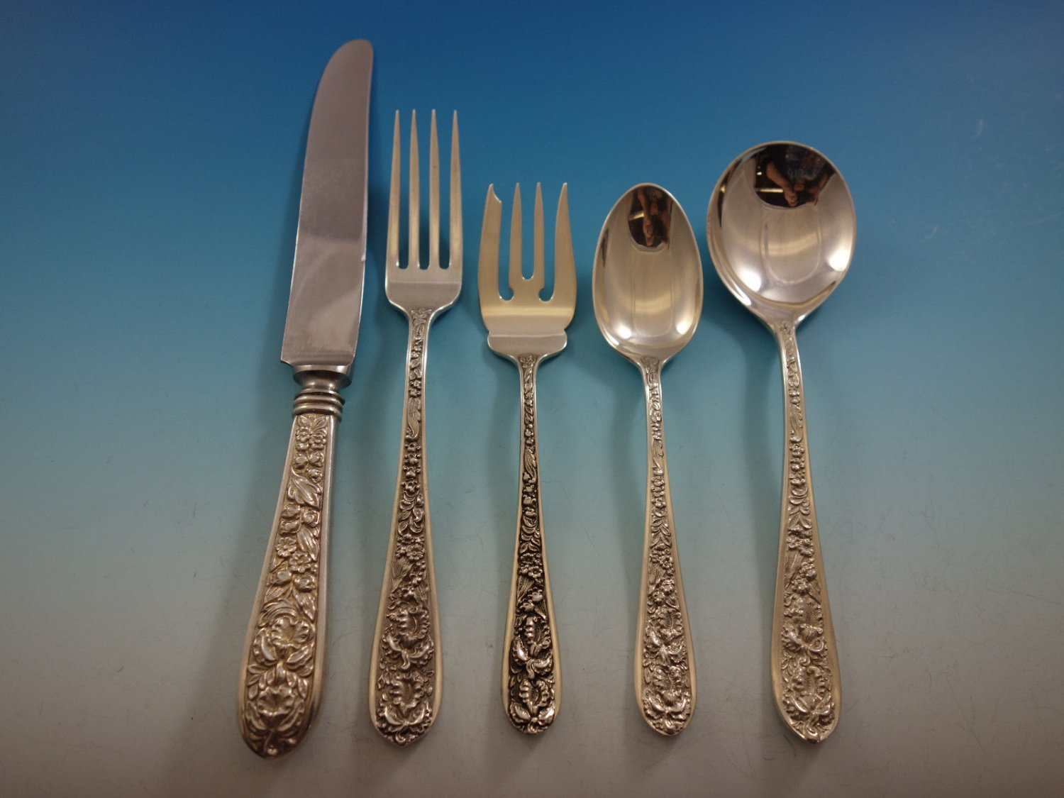Corsage by Stieff Sterling Silver Flatware Set For 12 Service 62 Pieces